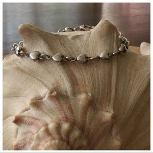 Vintage Sterling Silver Puffed Heart Bracelet